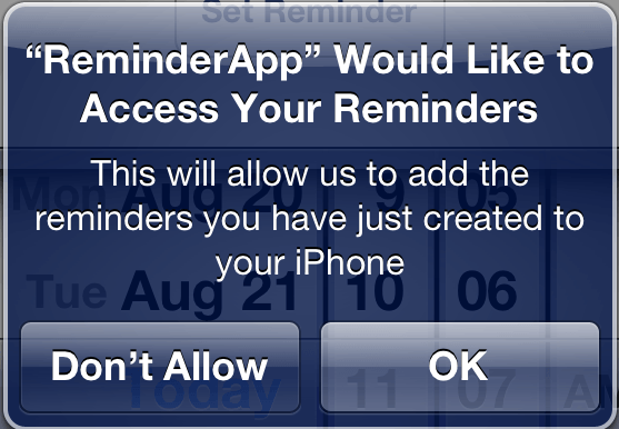 iOS 6 Reminders access permission request with custom message