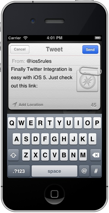The iPhone iOS 5 TWTweetComposeViewController panel