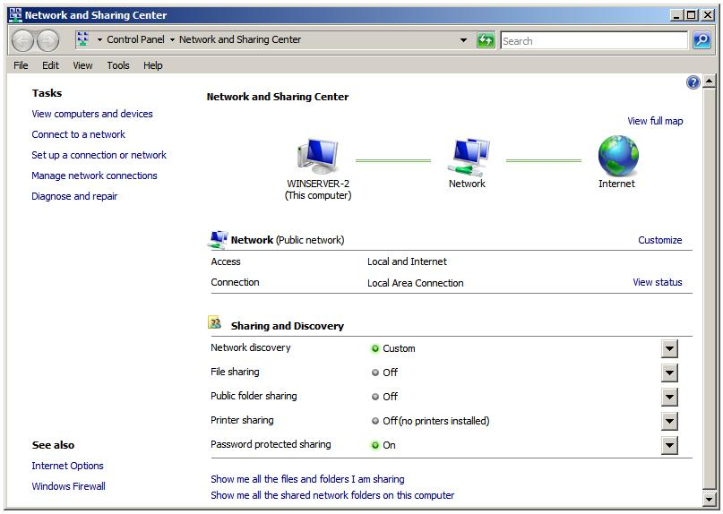 Windows Server 2008 Network and Sharing Center