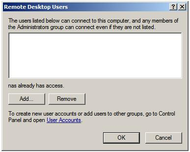 Selecting Windows Server 2008 Remote Desktop Users