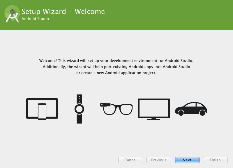 the Android Studio setup wizard