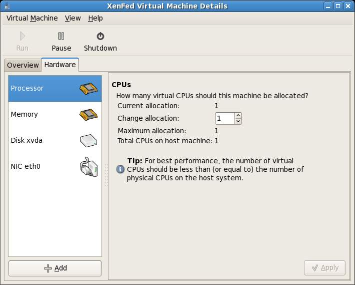 Xen Virtual Machine Details - Hardware