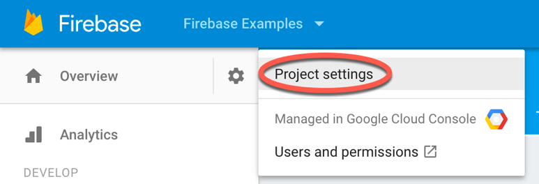 Firebase auth google sdk project menu.png