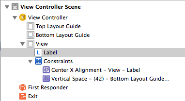 Listing constraints in the Xcode document outline panel