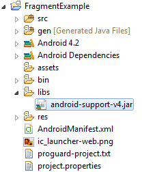 The android support library in the Eclipse Package Explorer