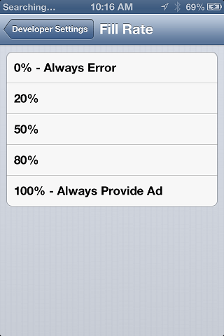 Setting tyhe iAds fill rate on iOS 6