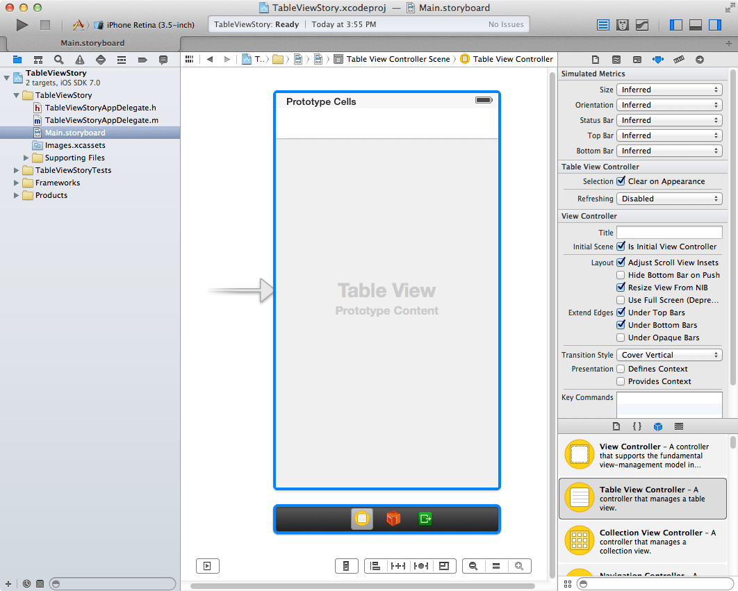 A TableView added to an Xcode 5 iOS 7 Storyboard file