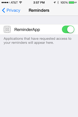 Setting iOS 7 Privacy options for an application