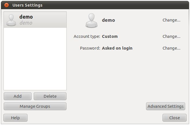 Ubuntu 10.10 user Settings