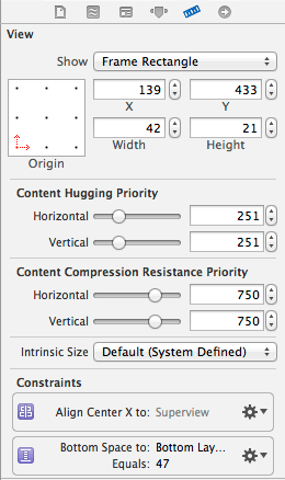 Auto Layout constraints for the selected view in the Utilities Size Inspector panel