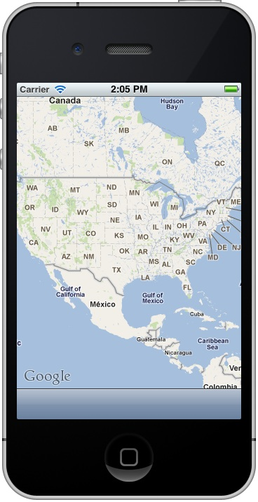 The map displayed by the MKMapView on an iOS 5 iPhone