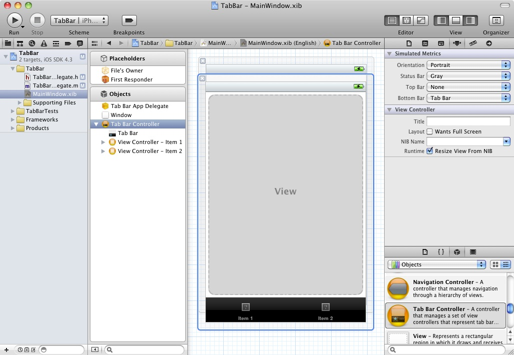 Xcode 4 with Tab Bar added to View