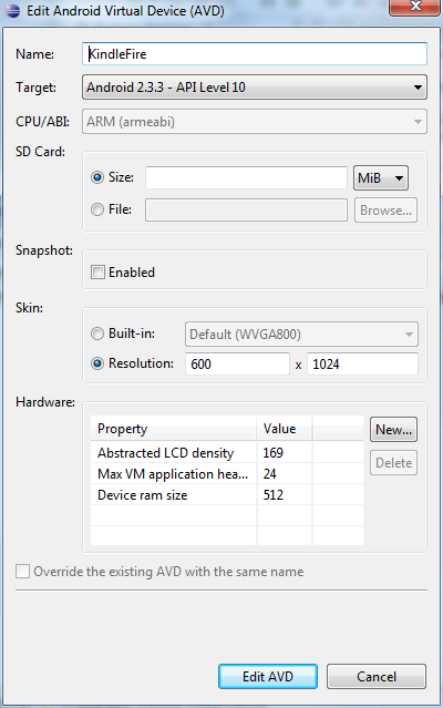 Adding an SD Card to an AVD configuration