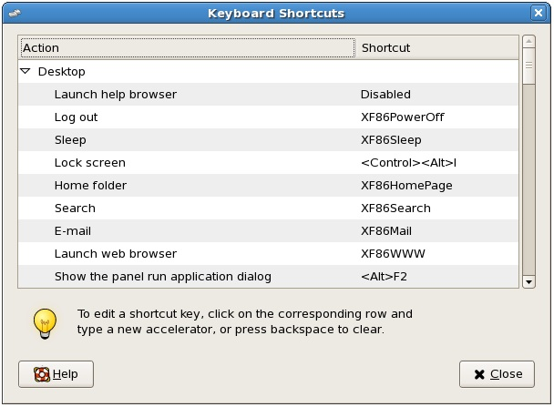 CentOS Desktop Keyboard Shortcuts - Techotopia