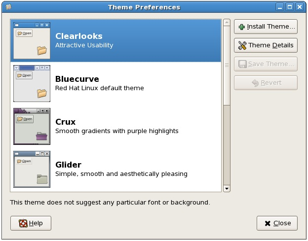 The CentOS Theme Preferences Dialog