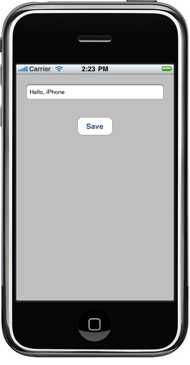 The iPhone file I/O example app running
