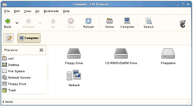The open SUSE File Manager showing the Computer icons