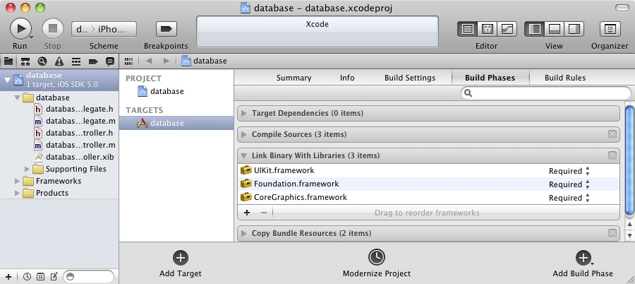 Adding the sqlite library to an iOS 5 iPhone Xcode project