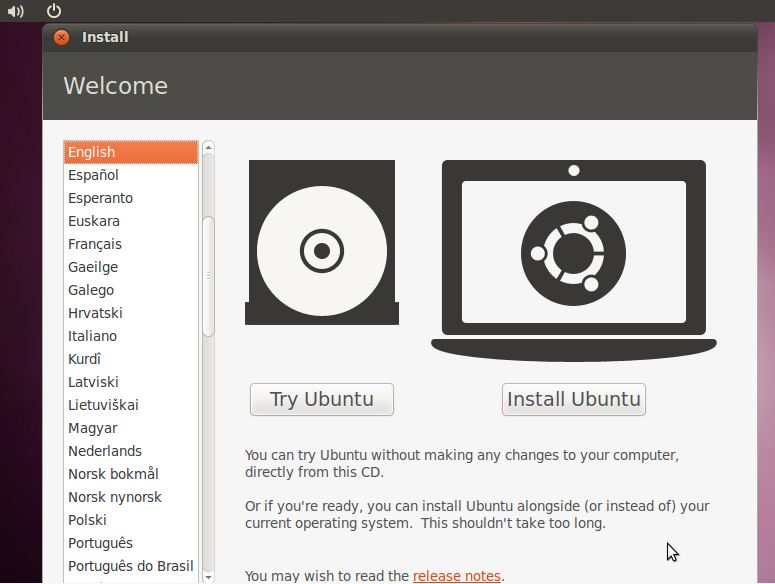 The Ubuntu 10.10 Try or Install Screen
