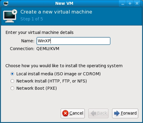 Setting the KVM VM name and installation media