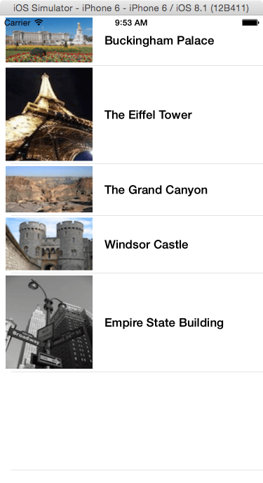 An iOS Table View example app running