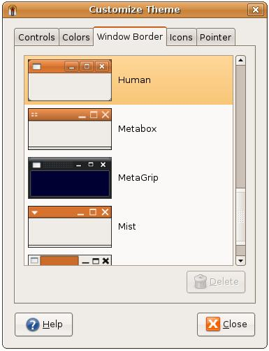 The Ubuntu Theme Customization Dialog