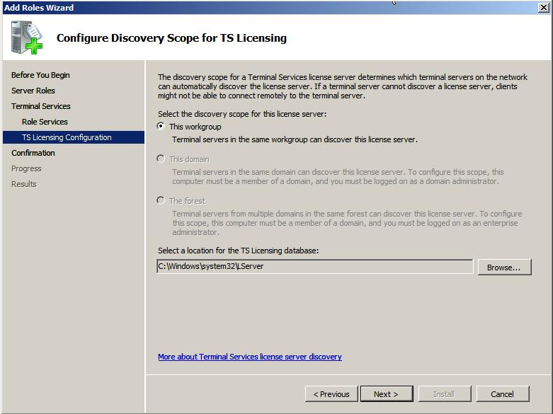 Configuring TS Licensing discovery settings
