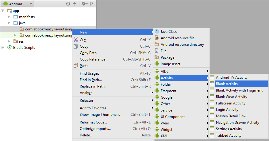 Adding a new Activity to an Android Studio project