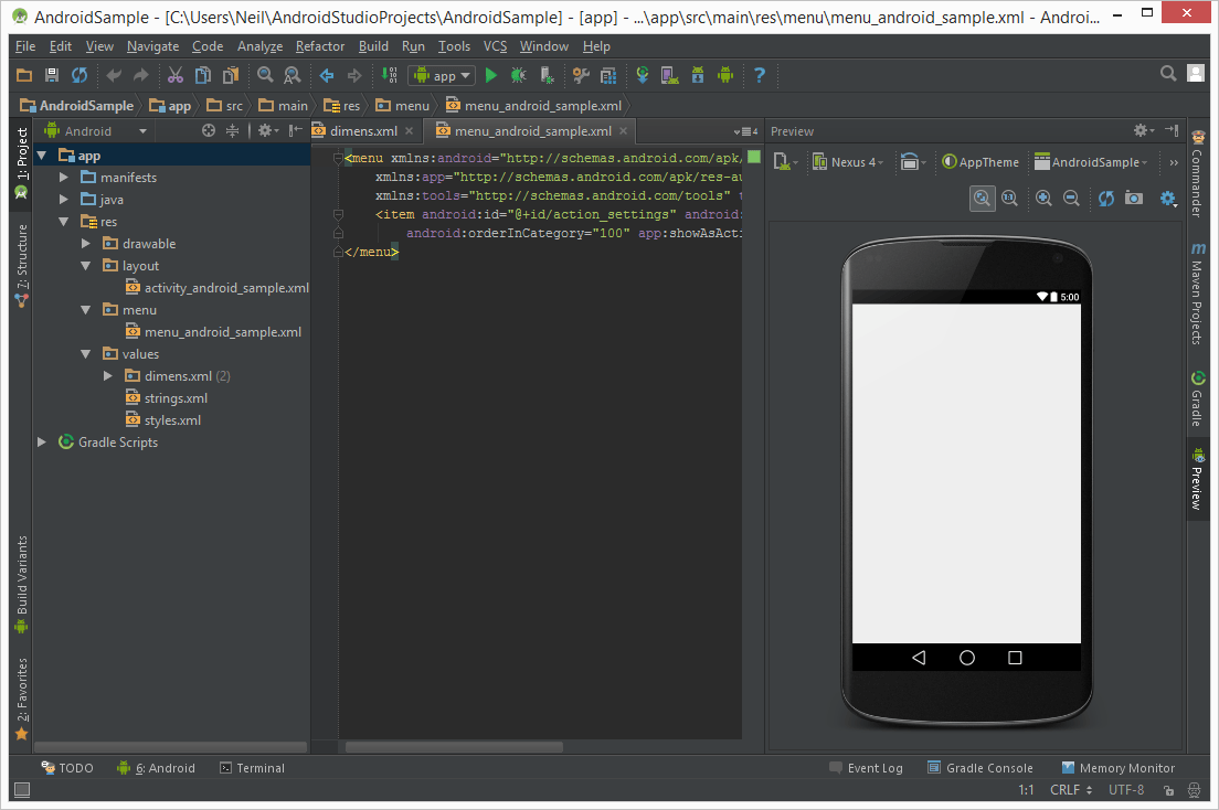 Android Studio running with the Darcula theme