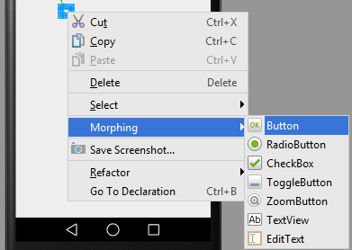 Morphing a view type in Android Studio Designer