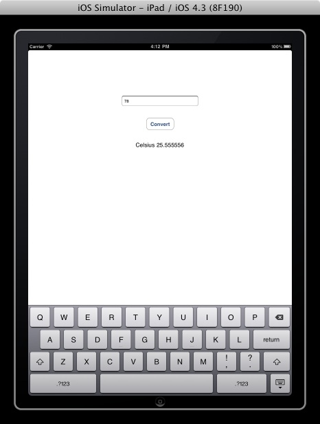 By default the iPad iOS Simulator will display the iPad screen scaled ...