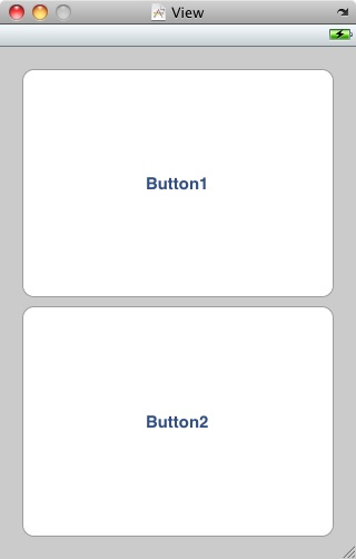 iPhone layout in Interface Builder with two large buttons