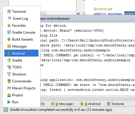 Launching the Android Studio Android tool window using the quick access menu