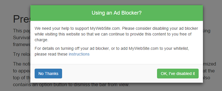 An Ad Blocker removal request dialog