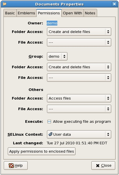 Setting file permissions on RHEL 5