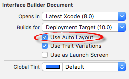 Enabling Auto Layout in Xcode