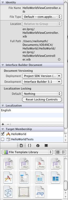The Xcode 4 right hand panel