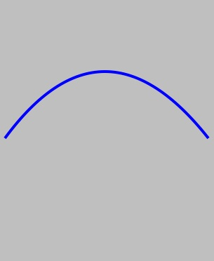A quadratic bezier curve drawn using the iOS 5 SDK