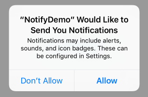 Requesting permission to send notifications from within an iOS app