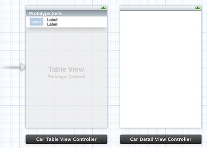 A Storyboard containing a table view and view controller