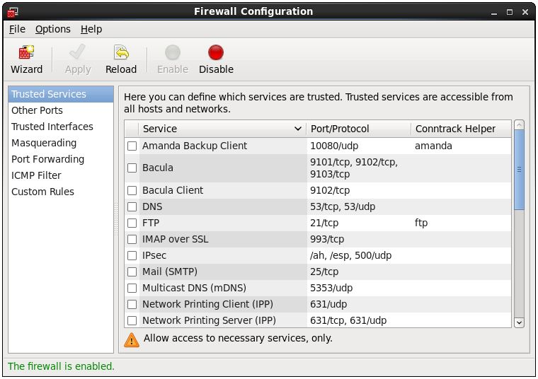 The RHEL 6 firewall configuration tool
