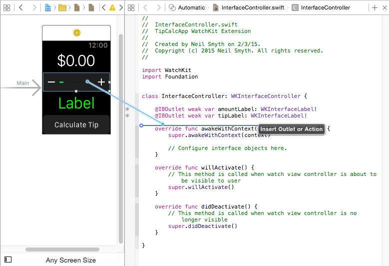 Establishing a WatchKit action connection using the Assistant Editor