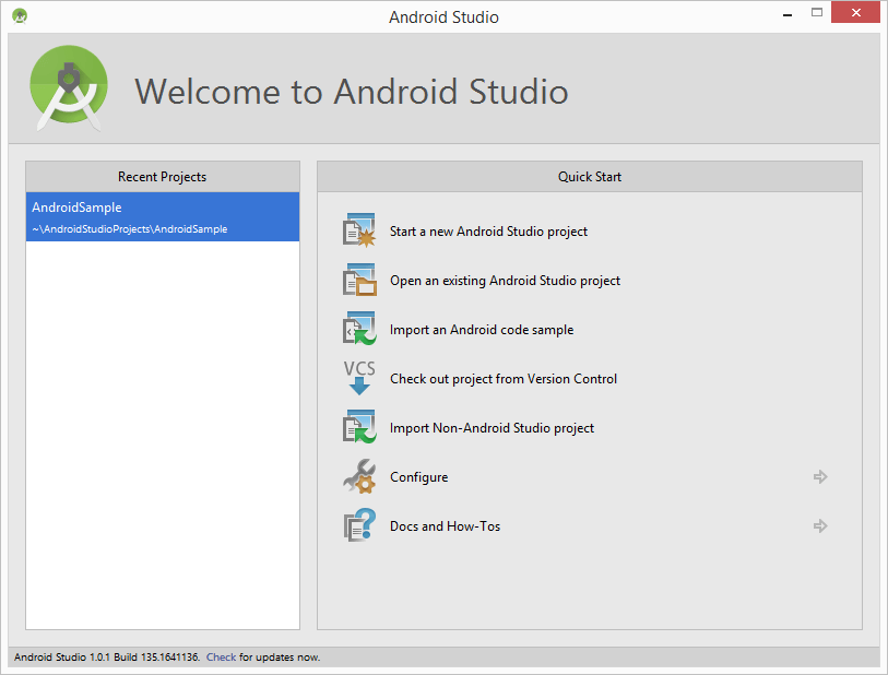 The Android Studio Welcome screen