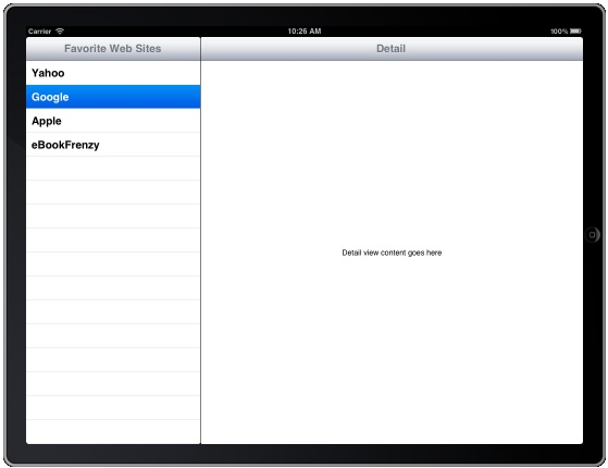 The current state of the iPad iOS 5 SplitView application