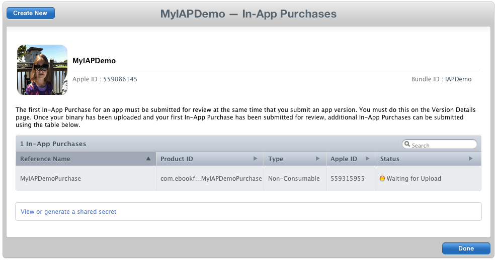 App Store Hosted In App Purchase Item Ready for Upload