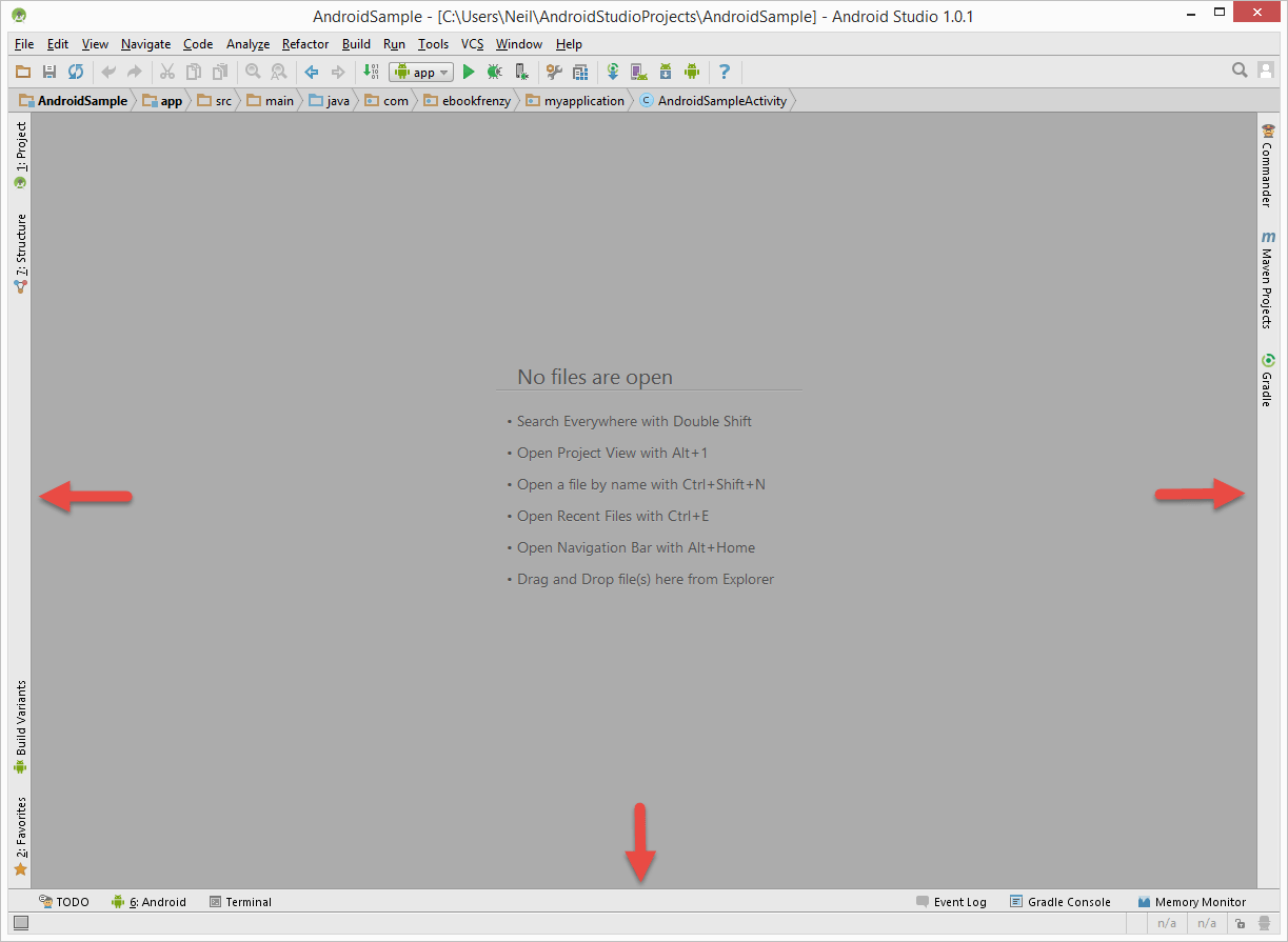 Android Studio tool window bars