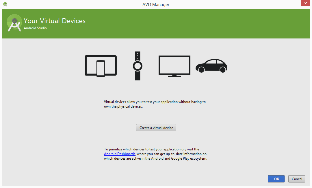 The Android Studio Virtual Device Manager window