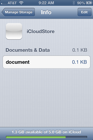 Reviewing data stored on iCloud using the iPhone iOS 6 Settings app