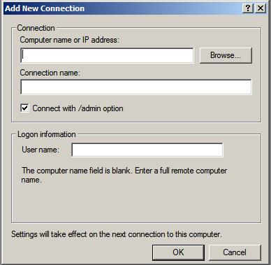 Adding a new connection to the Remote Desktops snap-in