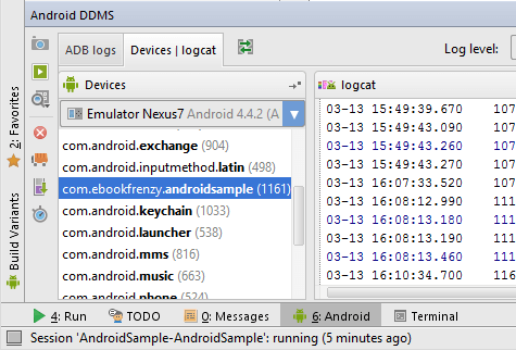 A list of currently running process in the Android Studio Android tool window